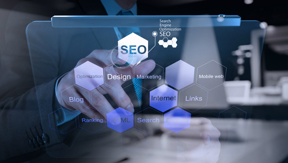 Finger pointing at SEO graphic